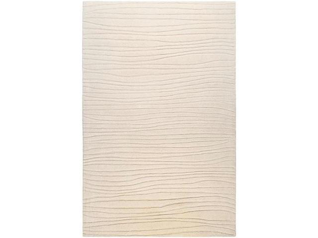 5' x 8' Scabrous Line Relief Winter White Wool Rectangular Area Throw Rug