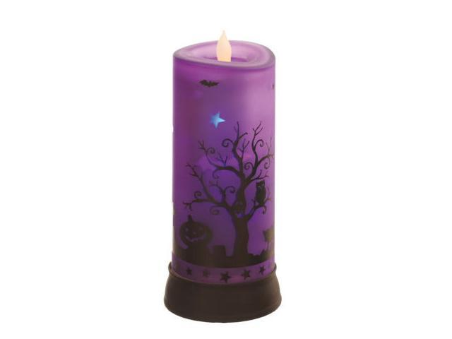 """9"""" Rotating Purple Flicker Candle with Spooky Halloween Scene"""