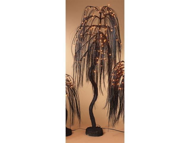 5' Pre-Lit Spooky Black Glittered Weeping Willow Halloween Tree - Orange Lights