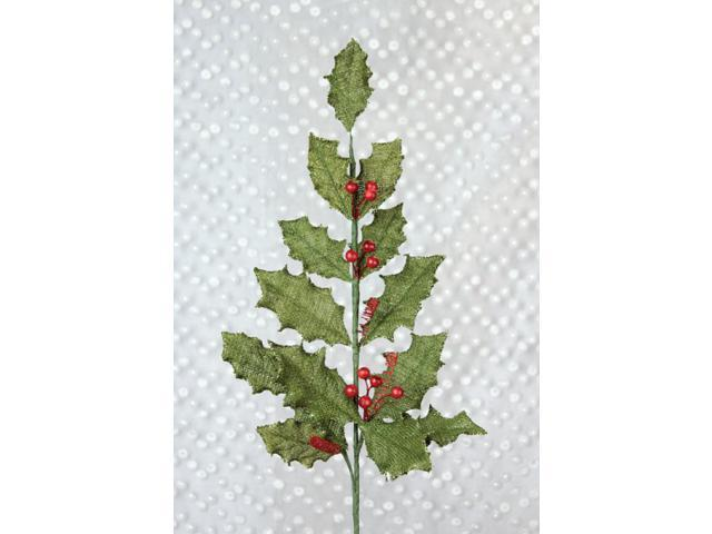 Pack of 12 Country Chic Glittered Fabric Holly Spray with