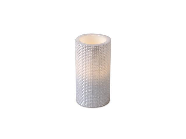 Pack of 6 Ivory Grid Pattern Flameless Wax LED Pillar Candles w/Timers 3