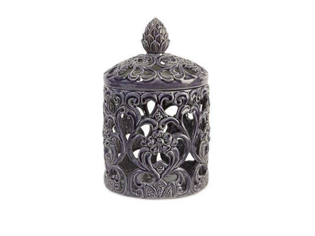 """12"""" Carolyn Kinder Glazed Purple Ceramic Cut-Out Jar with Finial Lid"""
