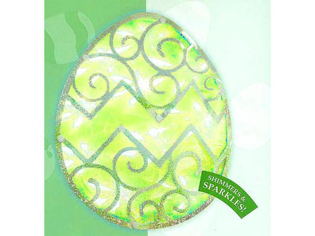 "12"" Lighted Green Easter Egg Window Silhouette Decoration"