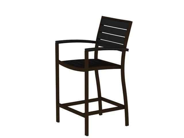 """41"""" Earth-Friendly Recycled Patio Counter Chair - Black with Bronze Frame"""