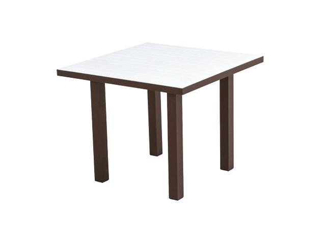 "36"" Recycled Earth-Friendly Square Dining Table - White with Bronze Frame"