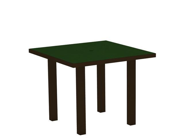 """36"""" Recycled Earth-Friendly Square Dining Table - Green with Bronze Frame"""