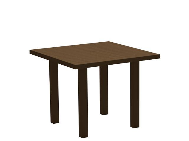 """36"""" Recycled Earth-Friendly Square Dining Table - Teak Brown with Black Frame"""