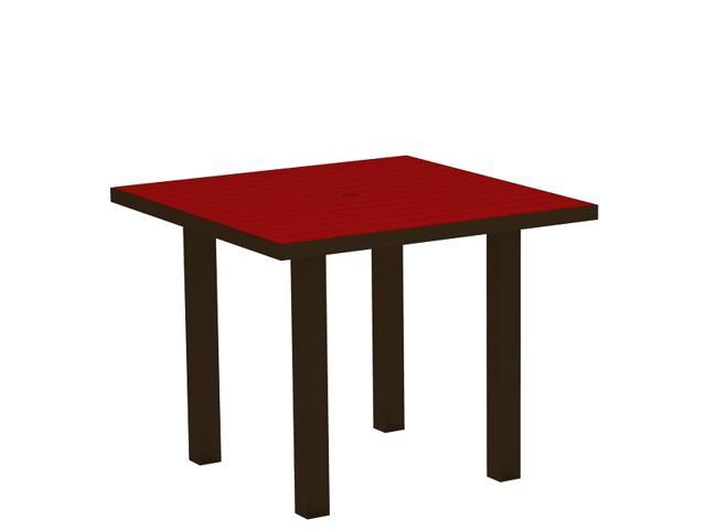 "36"" Recycled Earth-Friendly Square Dining Table - Sunset Red with Black Frame"