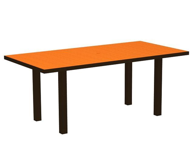 """72"""" Recycled Earth-Friendly Patio Dining Table - Orange with Bronze Frame"""