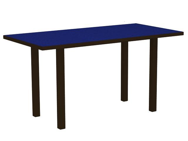 """72"""" Recycled Earth-Friendly Patio Counter Table - Pacific Blue with Bronze Frame"""