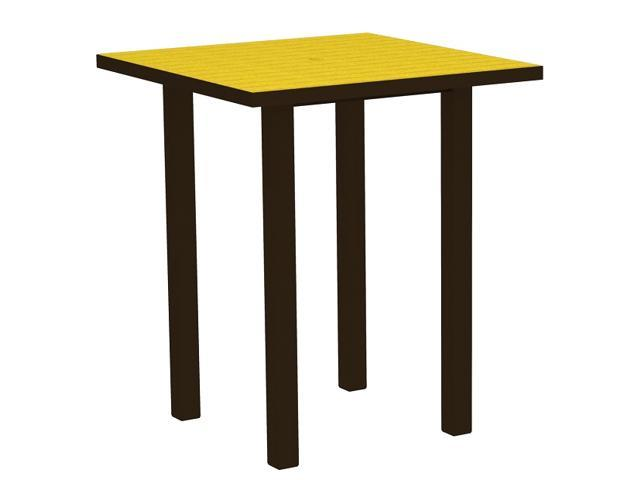 """36"""" Recycled Earth-Friendly Square Bar Table - Lemon Yellow with Bronze Frame"""