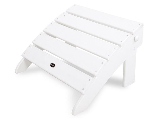 """22"""" Recycled Earth-Friendly Outdoor Curved Adirondack Patio Ottoman - White"""