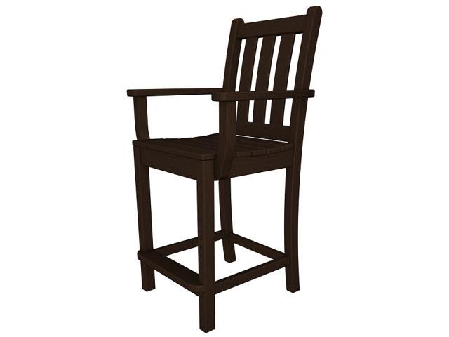 "41.75"" Recycled Earth-Friendly Patio Garden Dining Counter Arm Chair - Mahogany"