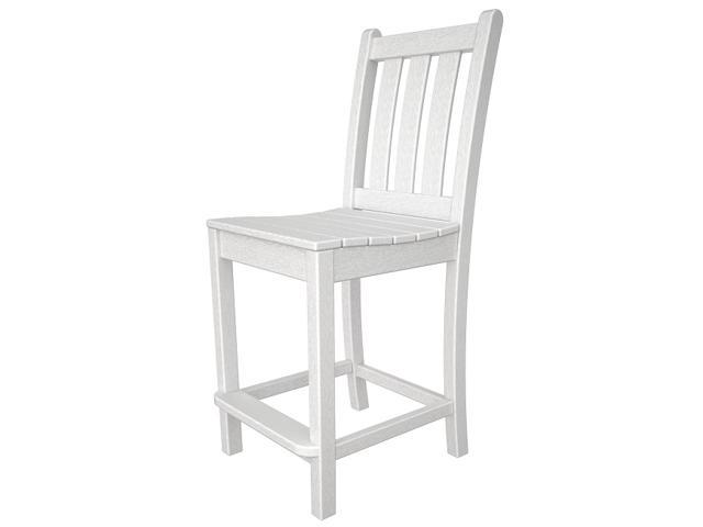 """41.75"""" Recycled Earth-Friendly Patio Garden Counter Dining Chair - White"""