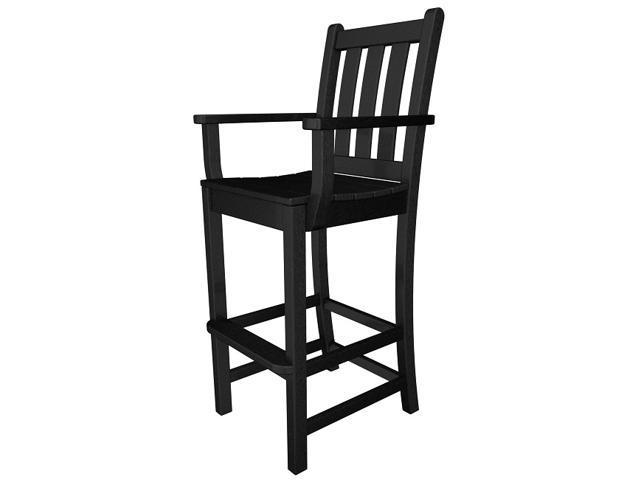 "47.75"" Recycled Earth-Friendly Patio Garden Dining Bar Arm Chair - Black"