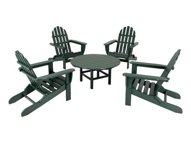 Outdoor 5-Piece Green Patio Conversation Chair and Table Set