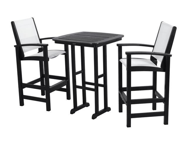 Recycled Earth-Friendly 3-Piece Patio Dining Set - Black with White Sling