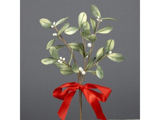 Club Pack of 24 Artificial Mistletoe Christmas Picks with Red Satin Bows 10