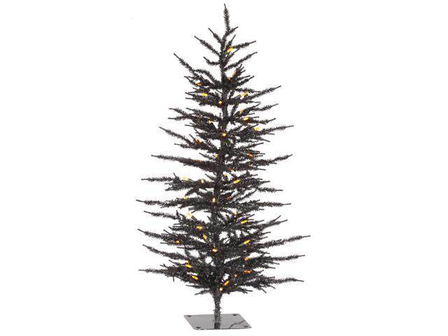 4' Pre-Lit Black Laser Artificial Halloween Christmas Tree