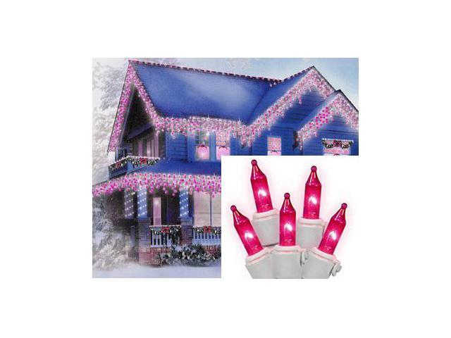 Set of 100 Pink Icicle Christmas Lights - White Wire