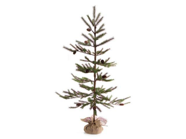 Pack of 2 artificial christmas trees with pine cones and burlap bases