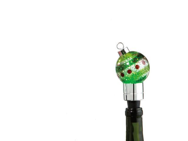 """4.5"""" Green LED Lighted Color Changing Christmas Ornament Wine Bottle Stopper"""