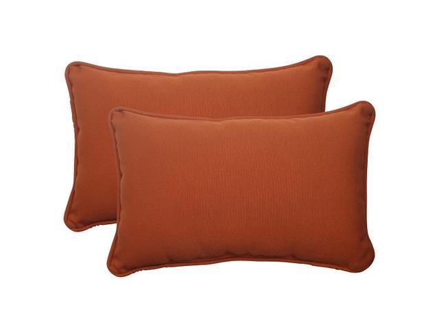 Burnt Orange Outdoor Throw Pillows : Set of 2 Cinnamon Burnt Orange Outdoor Patio Rectangular Throw Pillows 18.5