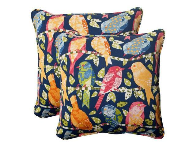 Colorful Bird Throw Pillows : Set of 2 Colorful Bird Watchers Outdoor Square Corded Throw Pillows 18.5