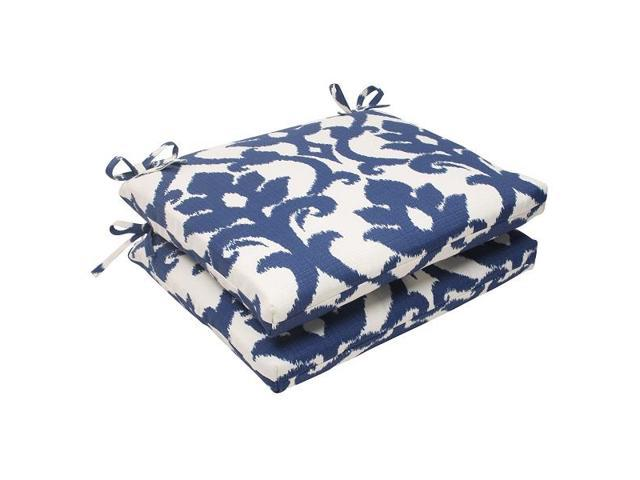 Victorian Outdoor Pillows : Set of 2 Navy Victorian Floral Outdoor Patio Squared Seat Cushions 18.5