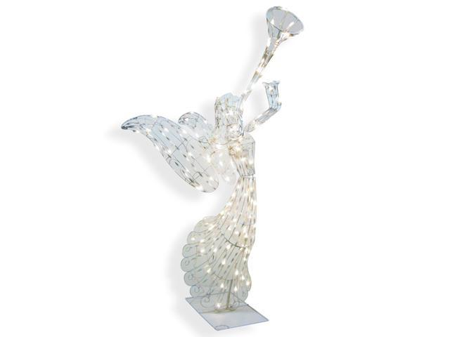"""48"""" Animated Opalescent Angel with Trumpet Swirl Lighted Christmas Yard Art Decoration"""