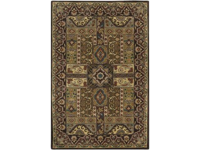 5 39 x 8 39 vitellius teal green and dark brown hand tufted wool area throw rug. Black Bedroom Furniture Sets. Home Design Ideas