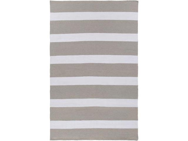9' x 13' Nautical Highlife Heather Gray and White Shed-Free Area Throw Rug