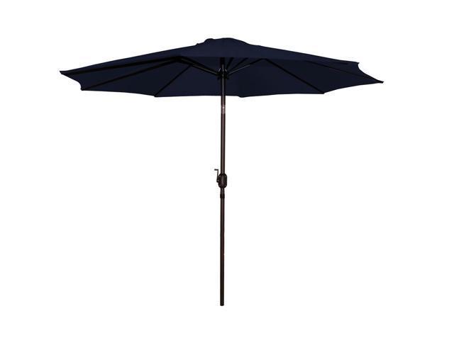 9' Outdoor Patio Market Umbrella with Hand Crank and Tilt - Navy Blue
