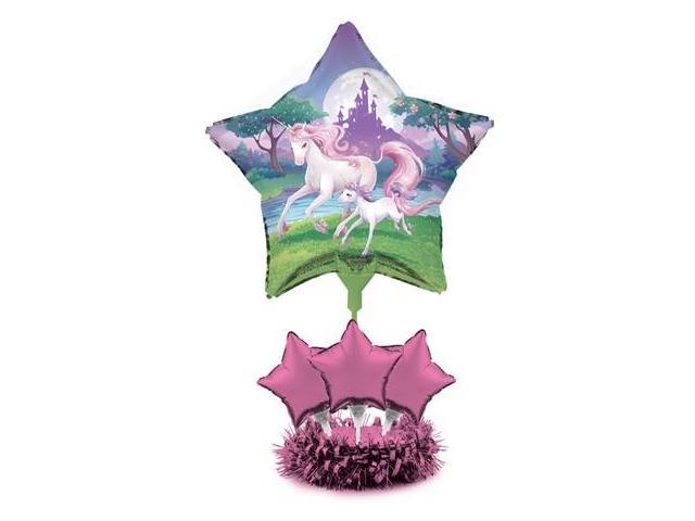 Pack of unicorn fantasy classic pink star foil party