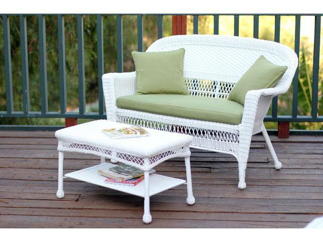 2 Piece Aurora White Resin Wicker Patio Loveseat and