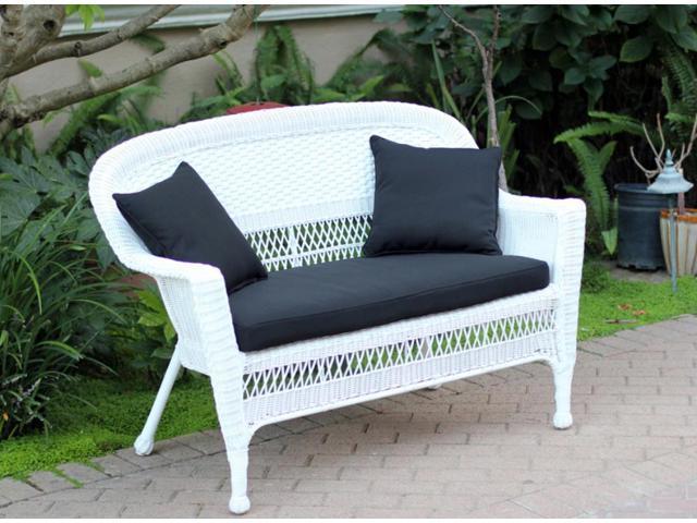 51 jasmine white resin wicker patio loveseat midnight black cushion and pillows