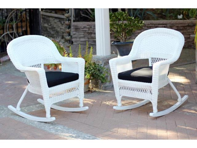 2 Piece Ariel White Resin Wicker Patio Rocker Chairs Furniture Set Black Cushions