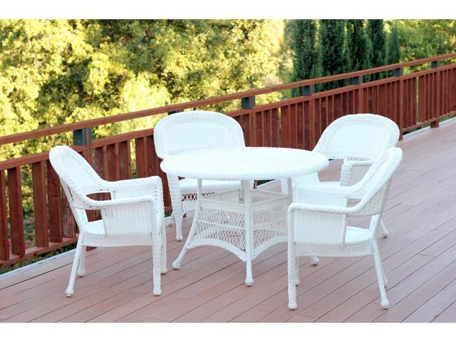 5 Piece White Resin Wicker Chairs and Table Outdoor Patio