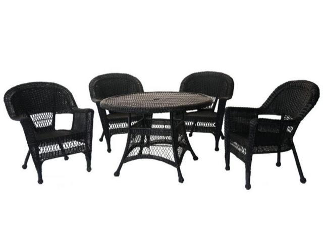 5 Piece Black Resin Wicker Chair And Table Patio Dining