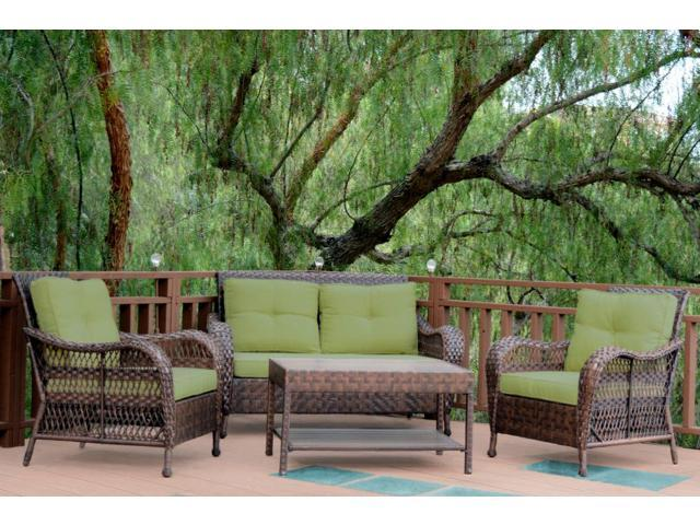 resin wicker outdoor patio conversation furniture set green cushions