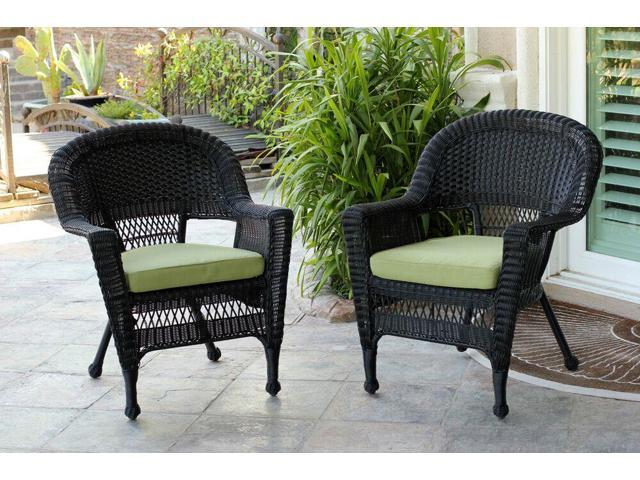 Set Of 4 Black Resin Wicker Outdoor Patio Garden Chairs With Green Cushions