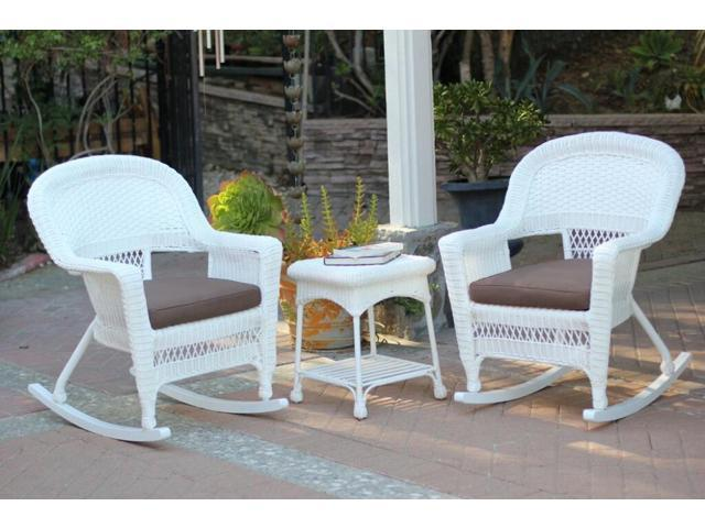 piece ariel white resin wicker patio rocker chairs and table furniture