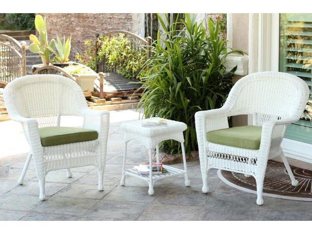 resin wicker patio chairs and end table furniture set green cushions
