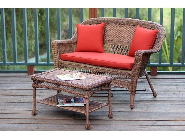 2 Piece Oswald Honey Resin Wicker Patio Loveseat And