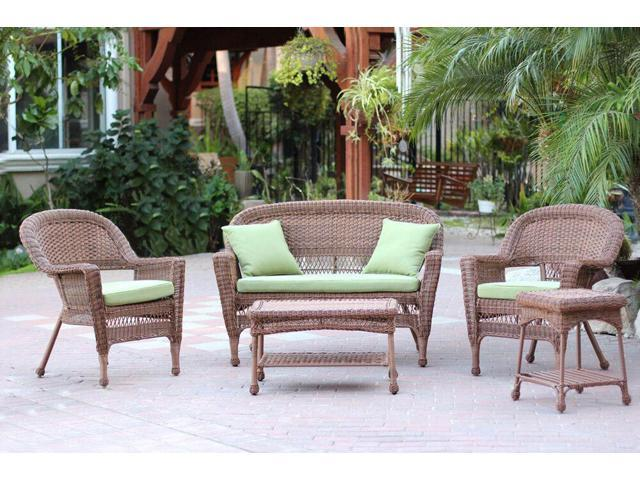 5 Piece Honey Wicker Patio Chair Loveseat Table Furniture Set Green