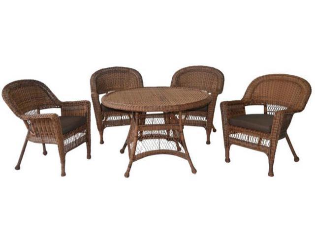 5 Piece Honey Resin Wicker Chair Table Patio Dining Furniture Set Bro