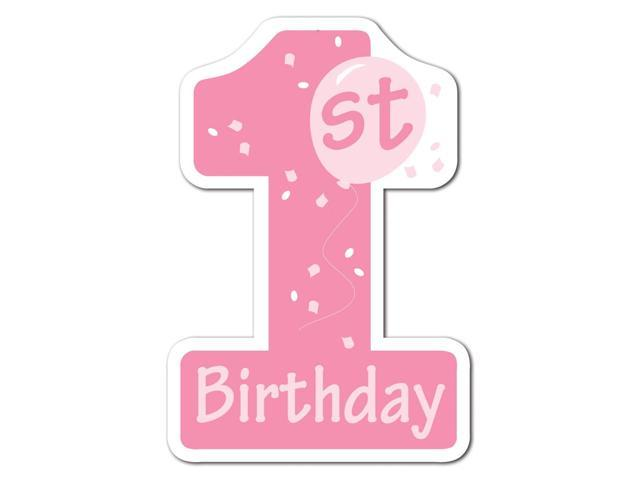Club pack of 24 pink and white 1st birthday number one for 1st birthday decoration packs