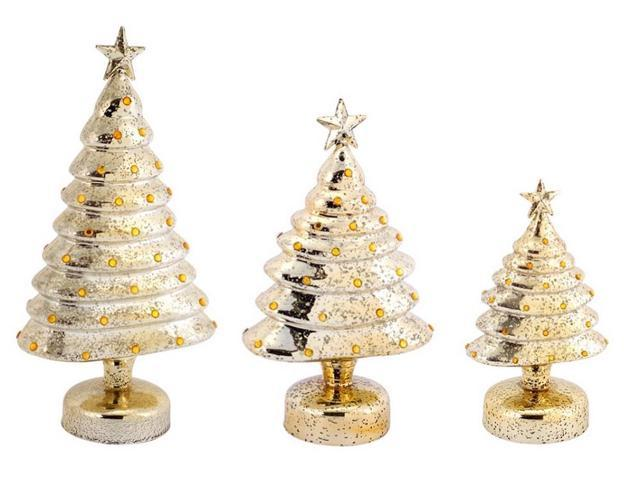 Pack of b o led lighted gold mercury glass christmas