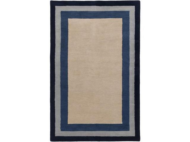 Grey Tan And Brown Area Rug: 3.25' X 5.25' Stacked Rectangle Navy Blue, Slate Gray And