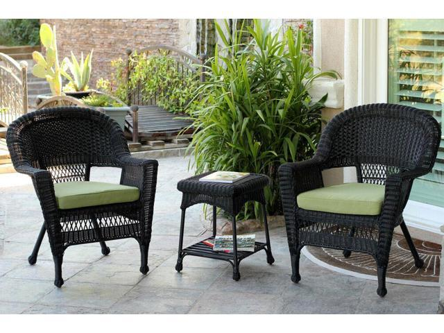 piece black resin wicker patio chairs and end table furniture set